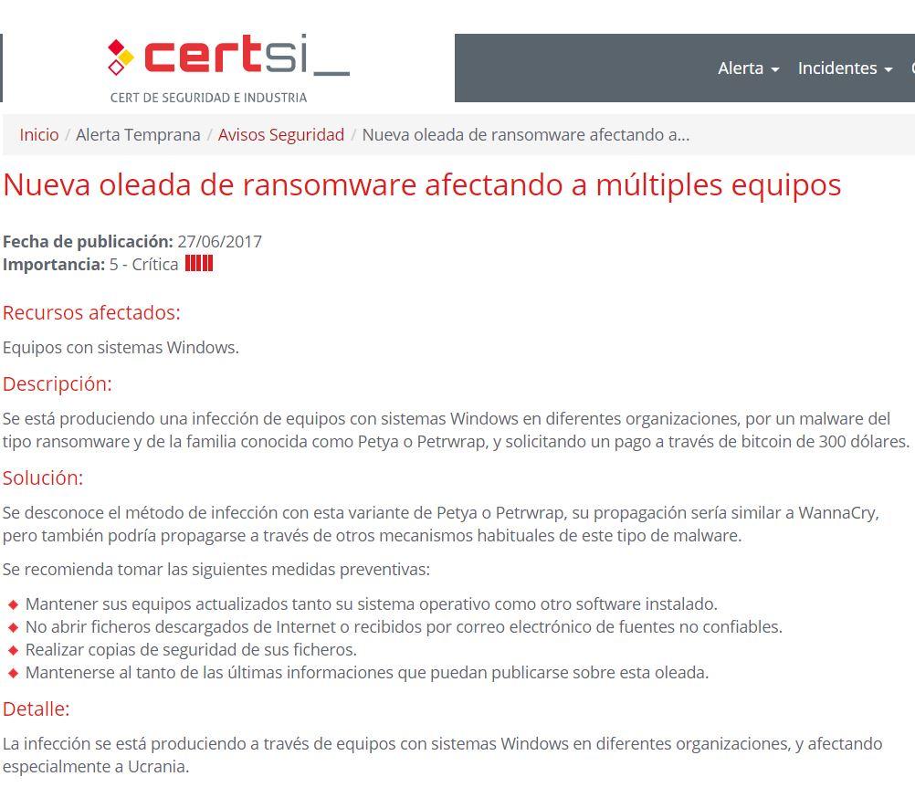 Comunicado: Nuevo ataque de ransomware a escala global