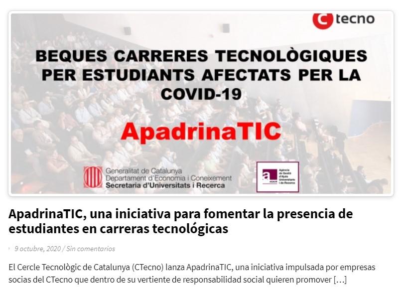 Econocom Nexica se suma a ApadrinaTIC per becar a futurs enginyers de telecomunicacions i informàtica