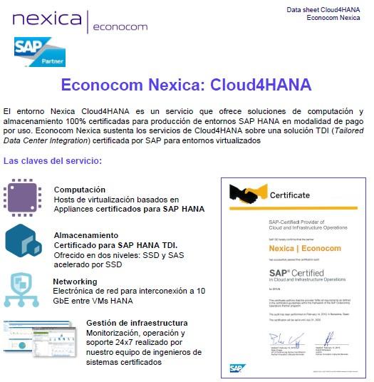 Cloud4HANA d'Econocom Nexica: entorns SAP HANA en pagament per ús